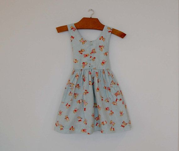 Vintage pale blue dress with cute little music-playing mice.