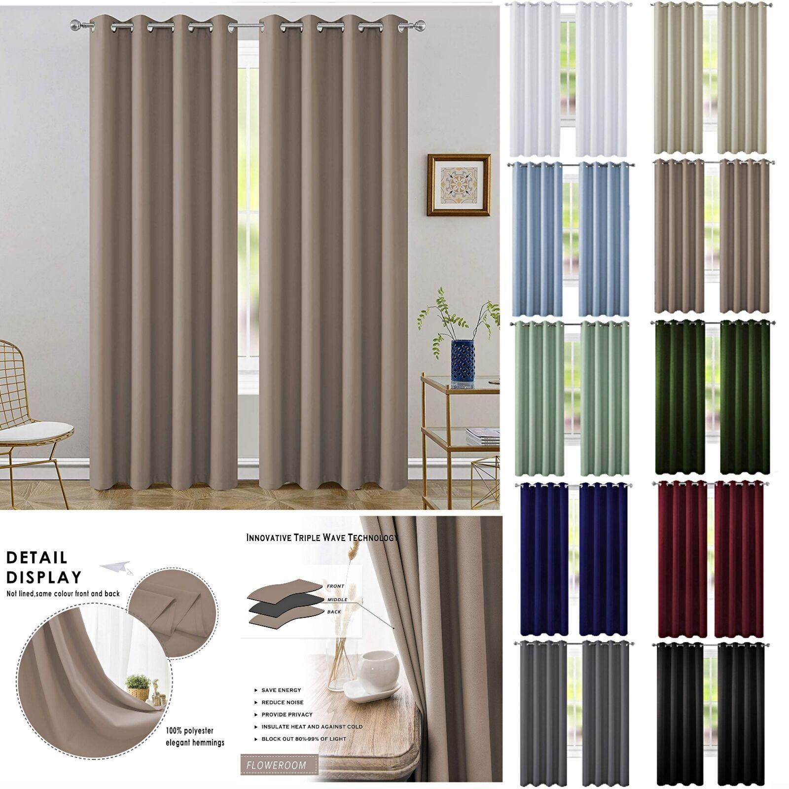 2 Panels Blackout Window Curtains Drape Room Darkening Grommet