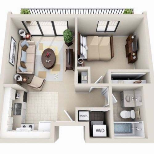 Beautiful 3d small house floor plans one bedroom on budget for Small 1 bedroom apartment floor plans