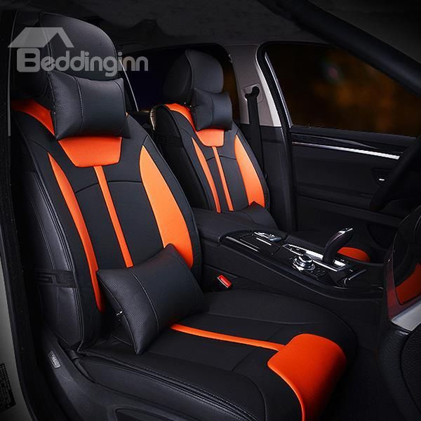 custom seat covers in red and black custom stitch orange