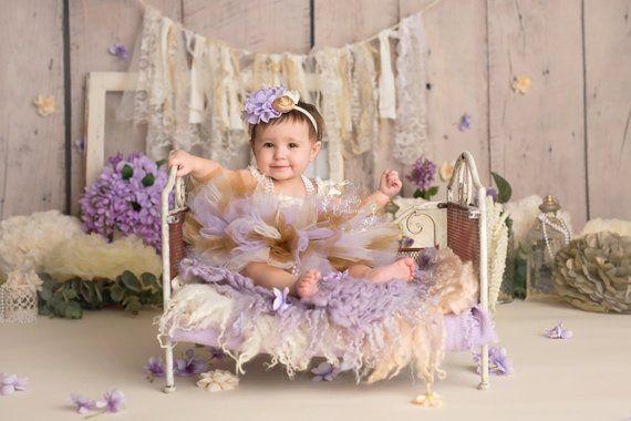 Lavender /& Gold Cake Smash Outfit 1st Birthday Set Light Pink Tutu Headband And Bodysuit