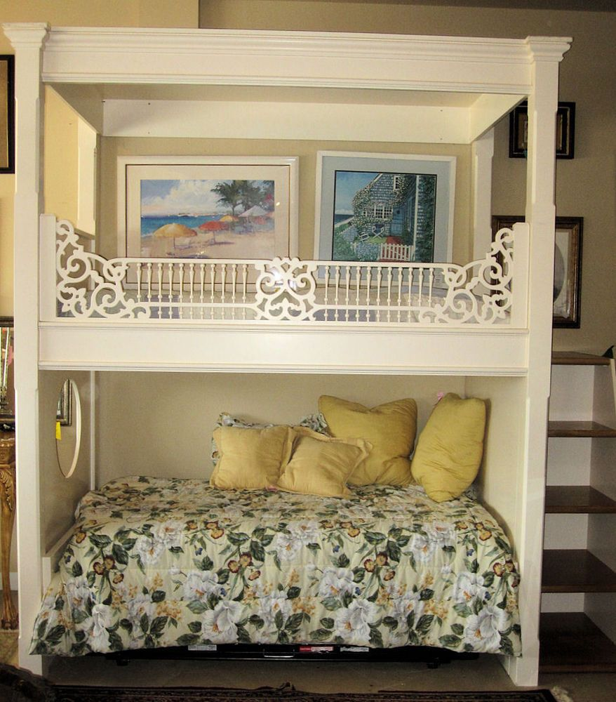 Adorable Custom Bunk Bed With Canopy / Juliet Balcony And