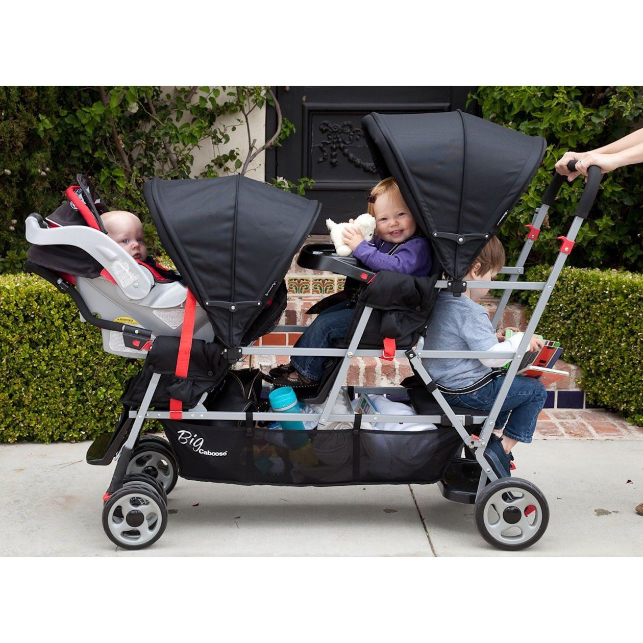 Stroller for 1year old twins plus newborn? Double