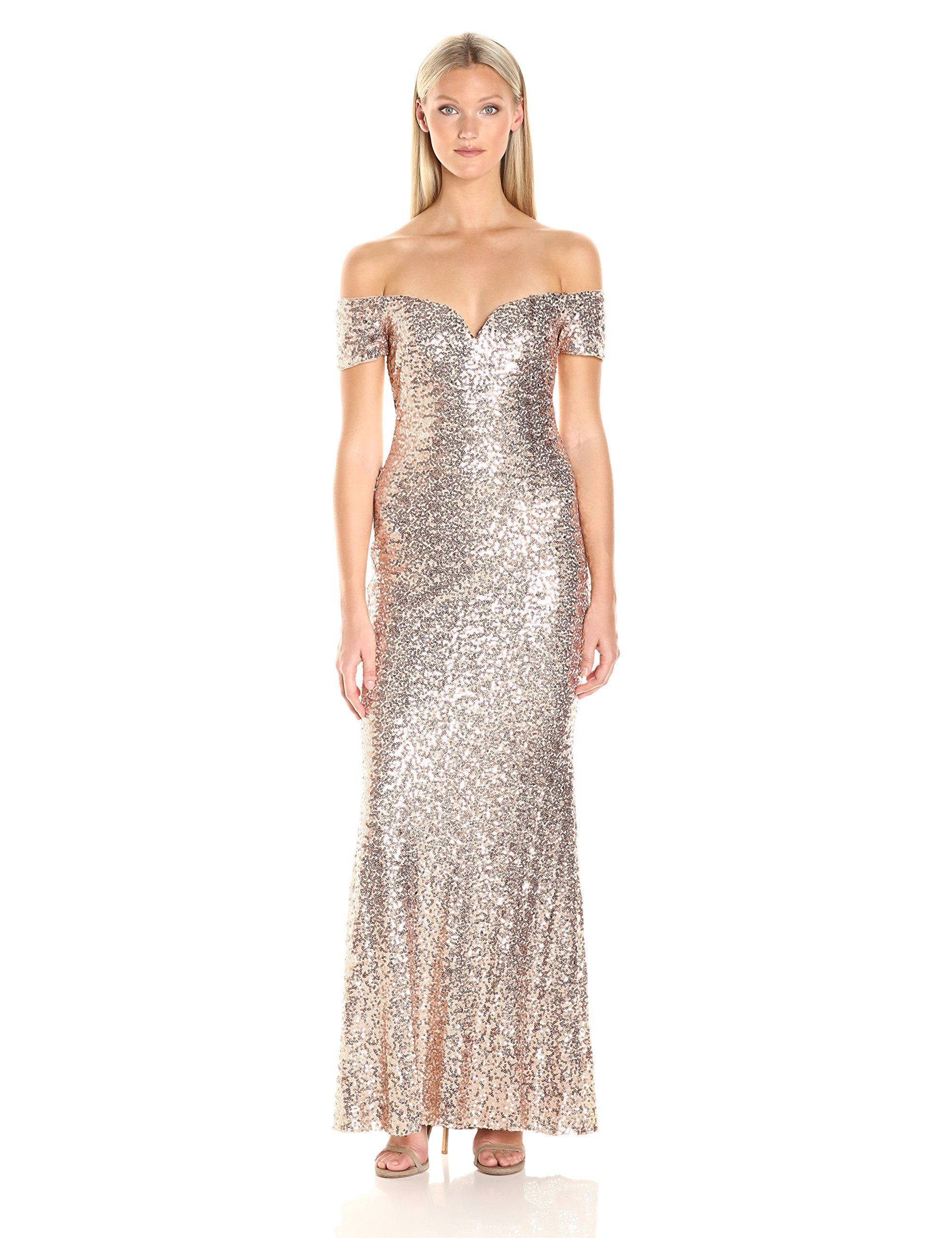 Badgley mischka womenus off the shoulder stretch sequin gown blush