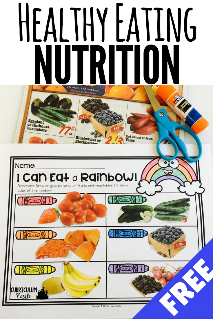 Healthy Eating & Nutrition: I Can Eat A Rainbow {FREEBIE
