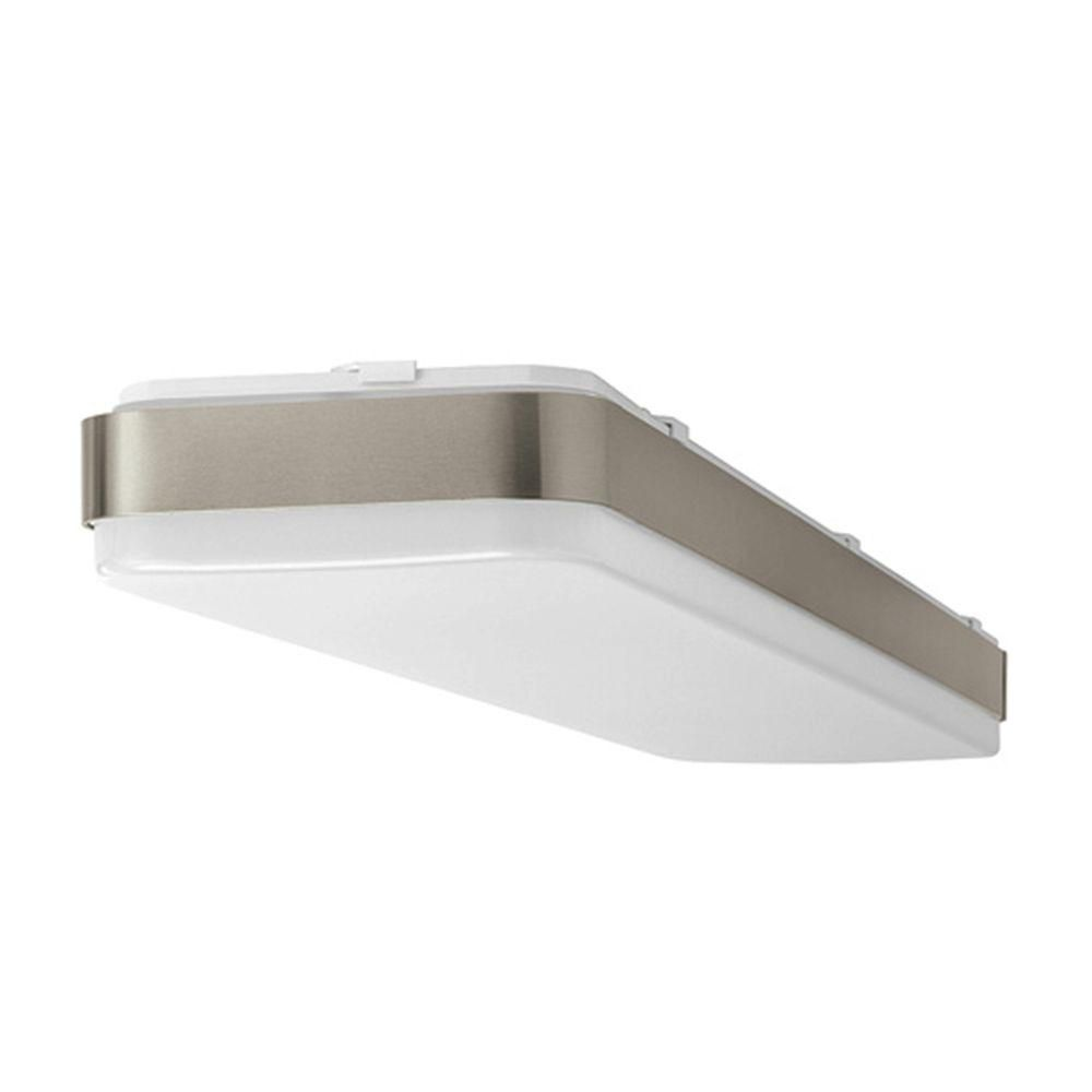 Hampton Bay 48 In X 10 In Rectangle Led Flush Mount Ceiling Light With Wide Brushed Nickel Border Dimmable 3000 Lumens 4000k 54607141 The Home Depot Flush Mount Kitchen Lighting Kitchen