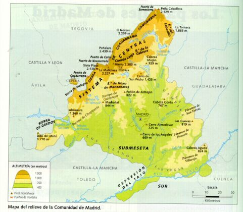 Mapa Fisico Sierras Y Cordilleras Comunidad De Madrid Geografia