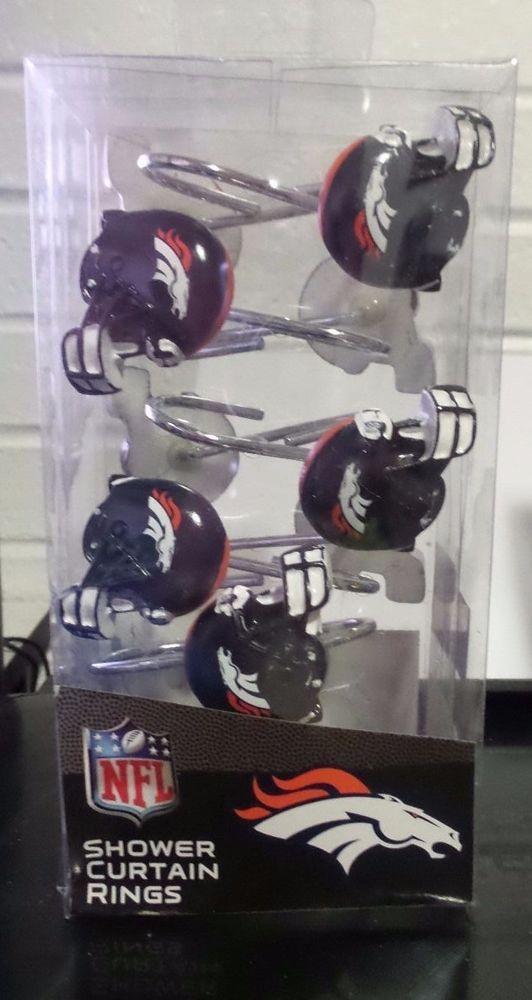 NFL Denver BRONCOS Set Bathroom PVC Shower Curtain Hooks Rings Northwest