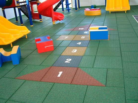 Indoor Play Area With Rubber Playground Mats Flooring