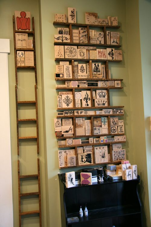 Rubber Stamp Collection Displayed On Small Decorative