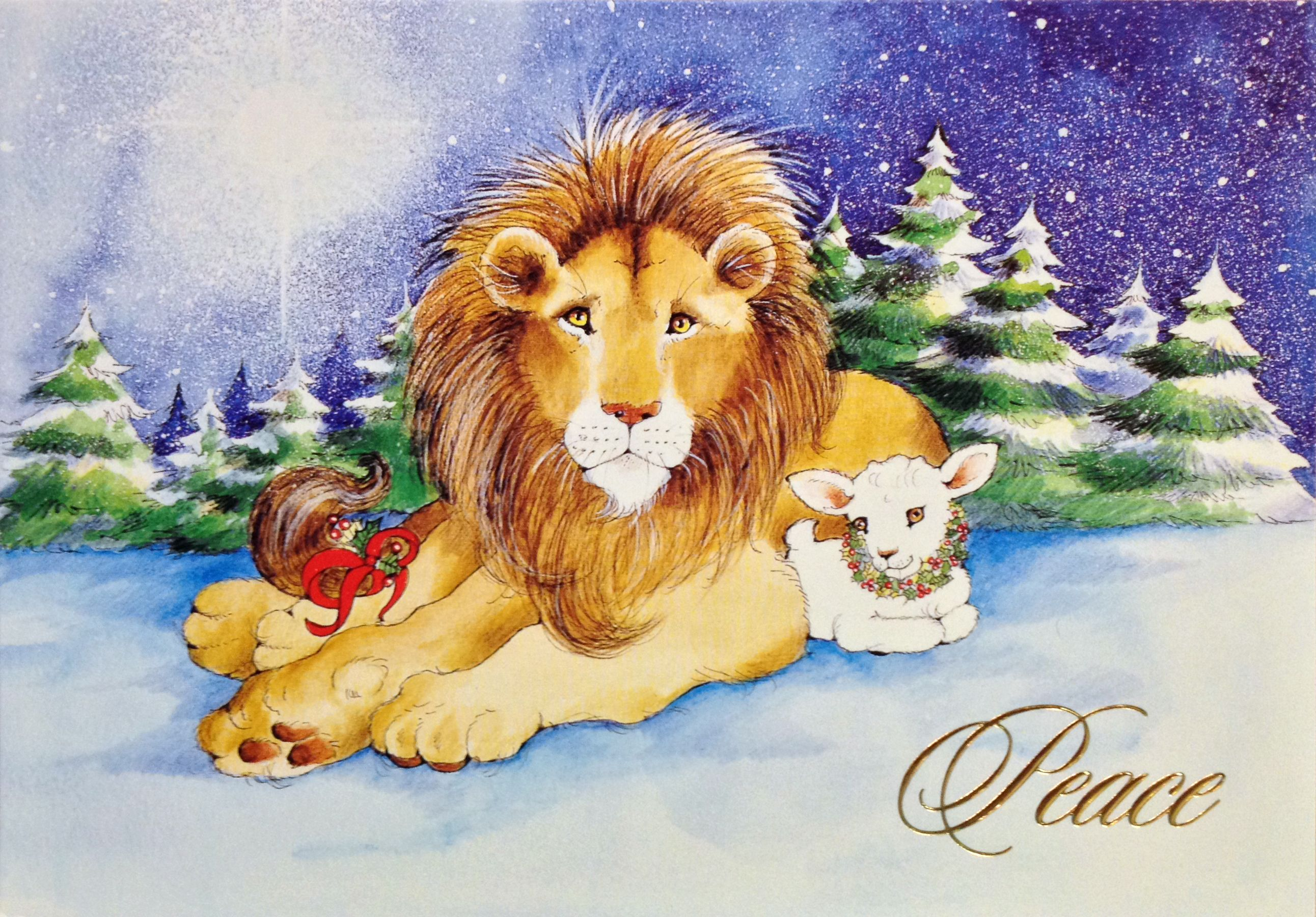 Lion & Lamb Christmas card by Century Greetings. Inside message ...