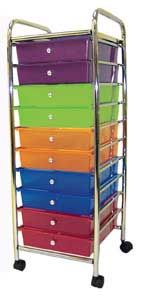 "10-Drawer Mobile Organizer  Rolling unit with colorful pull-out drawers provides organized storage for paper and other classroom supplies  Ten drawers in five colors provides color-coded, pull-out storage  Two each of red, orange, green, blue and purple  Polypropylene drawers measure 2½"" high x 9½"" wide x 13½"" deep inside  Tubular chrome frame and top shelf with four easy-roll casters  Overall size: 39"" high x 13¼"" wide x 15½"" deep  Assembly required"