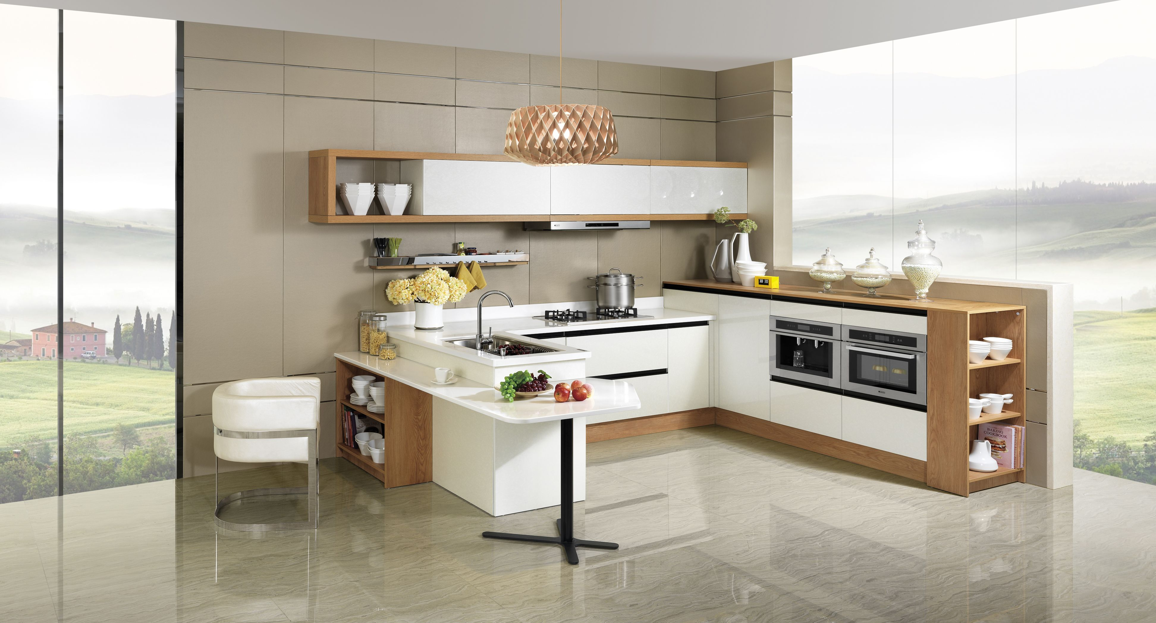 2014 New Arrival OPPEIN PVC Laminate Kitchen Cabinet In Guangzhou OP14 054
