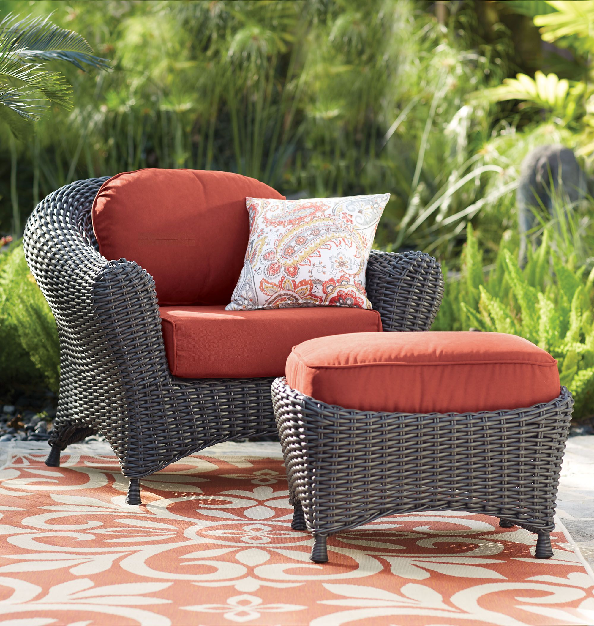 Martha Stewart Living Lake Adela Two Piece Seating Set Outdoor Seating Sets Patio Sets Patio Lounge Chairs Outdoor Furniture Sets Chair And Ottoman Set