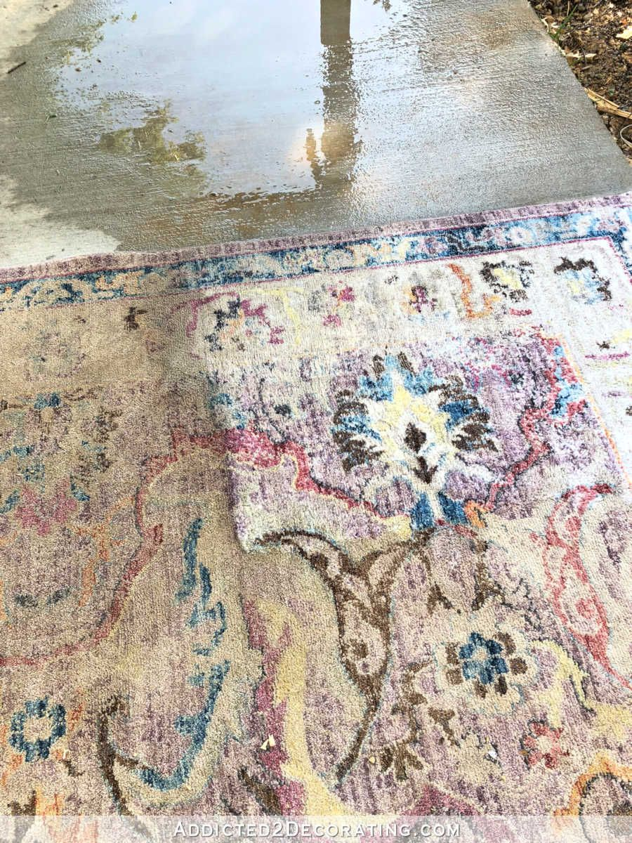 How To Clean An Area Rug The Fun Way Hint Get Out Your Power Washer Addicted 2 Decorating Cleaning Area Rugs Area Rugs Diy Rug Cleaning Diy