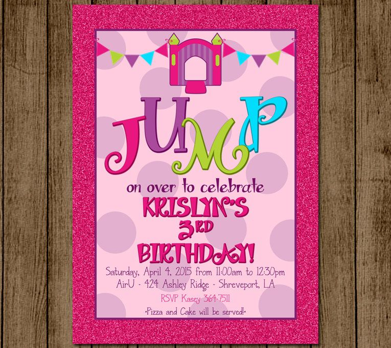 Customized Bounce House Birthday Party Invitation Girl Pink Glitter ...