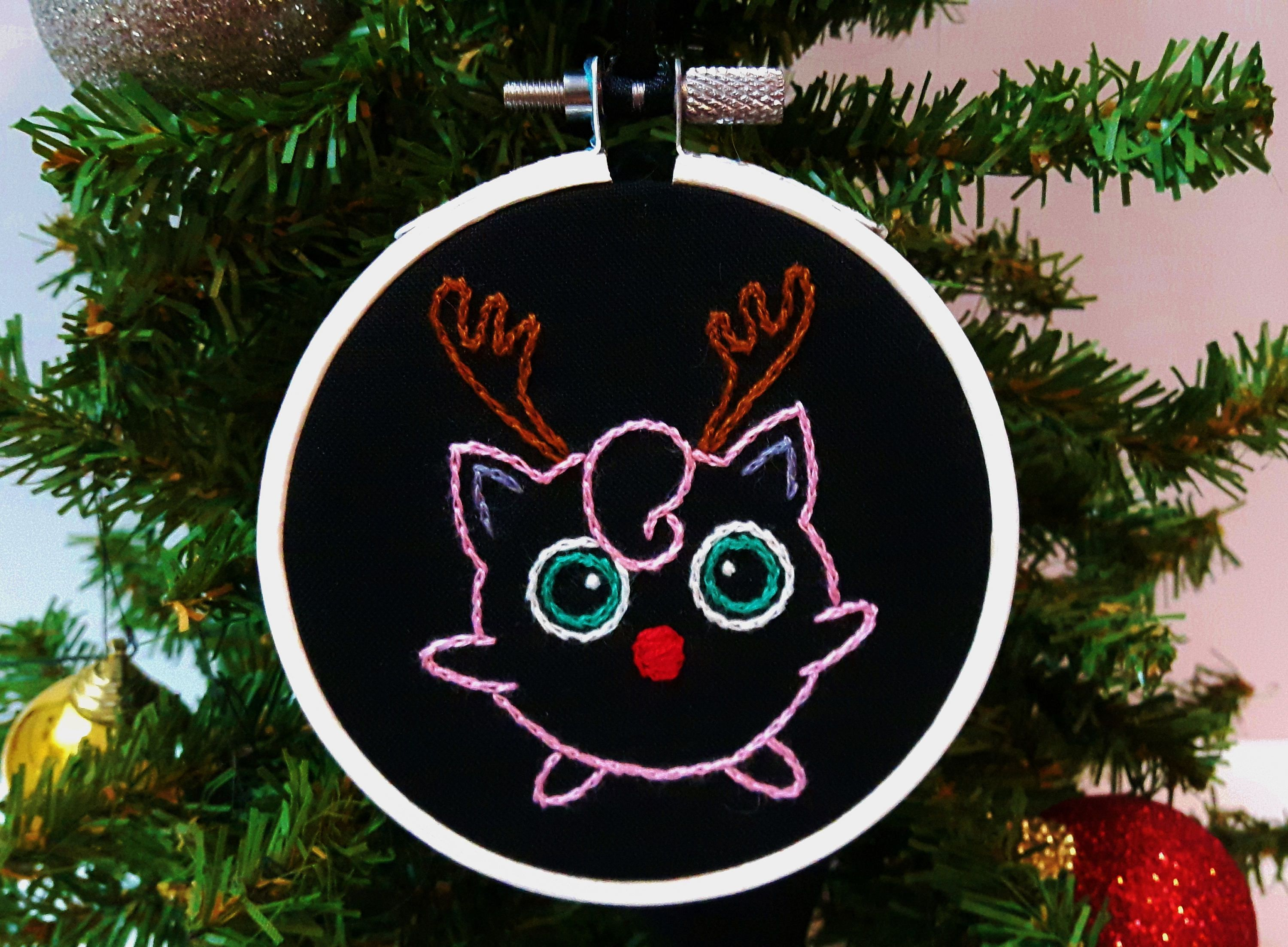 Hand Embroidered Christmas Ornament Jigglypuff With Reindeer Antlers Pokemon Gifts