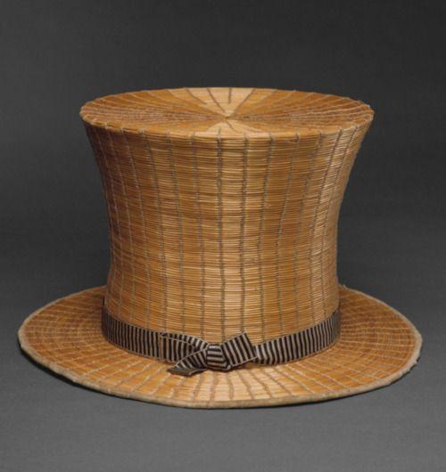 Straw Top Hat. Mid-19th Century