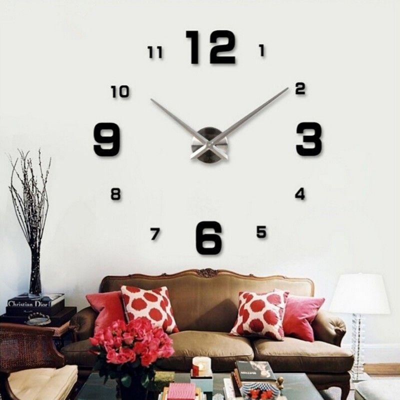 New DIY 3d Home Decoration Wall Clock Big Mirror Wall Clock Modern  Design,Large Size