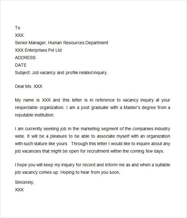 Letter Of Inquiry Template Word In 2020 Letter Sample Job Cover