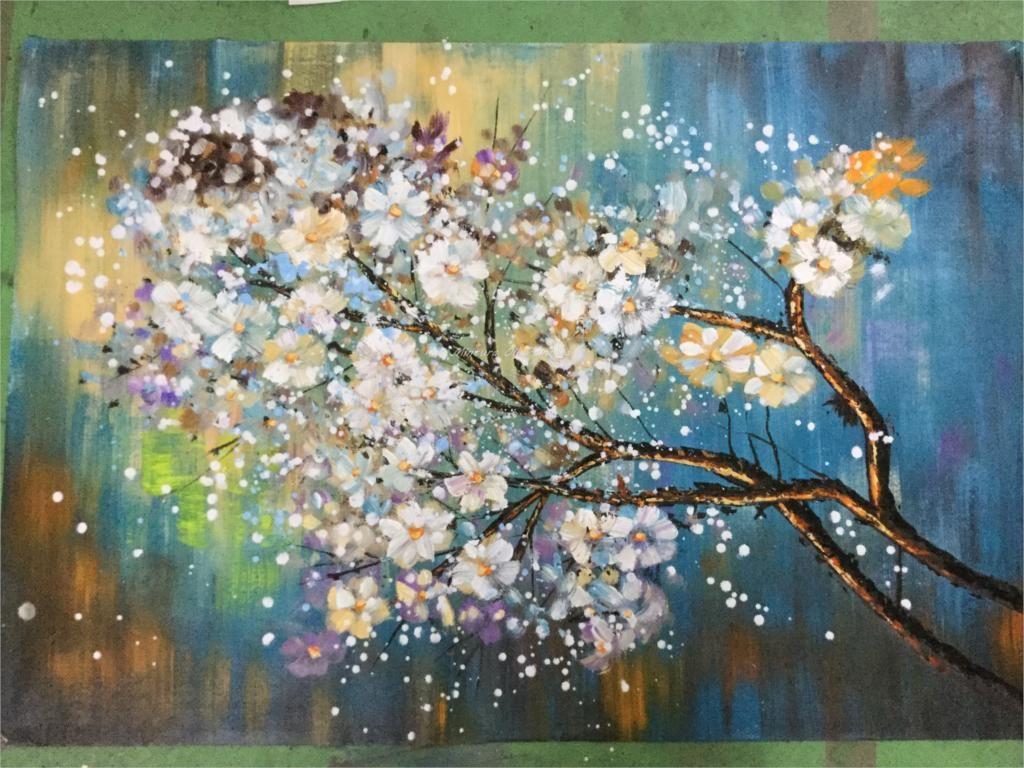 Duzy 100 Recznie Malowane Kwiaty Morden Drzewa Abstrakcyjna Obraz