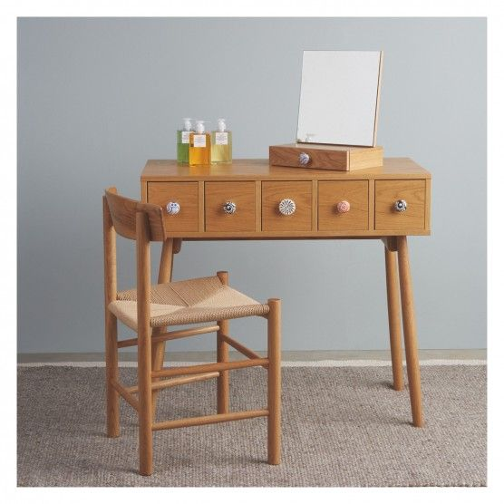 FLEUR Oak dressing table with drawers and ceramic handles ...
