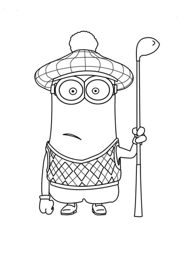 Kevin The Golfer The Minion Coloring Page Kids Play Color Minions Coloring Pages Minion Coloring Pages Coloring Pages