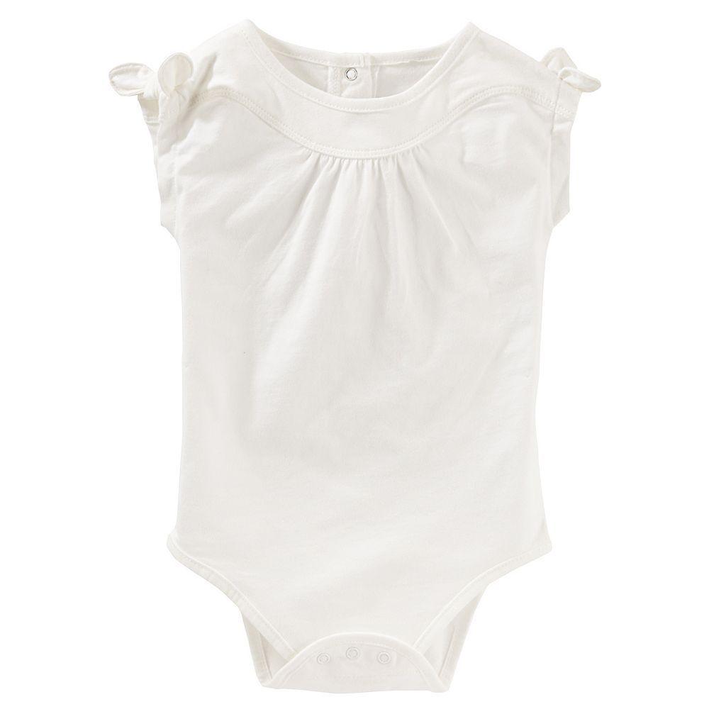 Baby Girl OshKosh B'gosh® Shirred Knot-Sleeve Bodysuit, Size: 12 Months, White