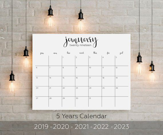Formen Magazine Calendario 2020.5 Years Printable Big Wall Calendar 2019 2019 2020 2021