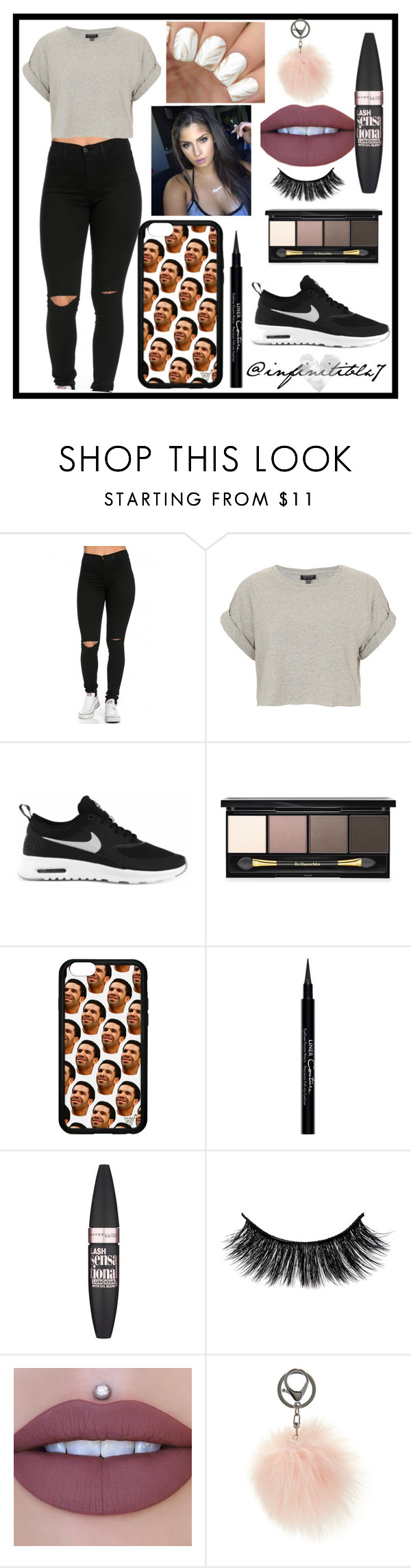 """""""BACK TO SCHOOL"""" by infinitiblx7 ❤ liked on Polyvore featuring Topshop, NIKE, Dr.Hauschka, Givenchy, Maybelline and Adrienne Landau"""