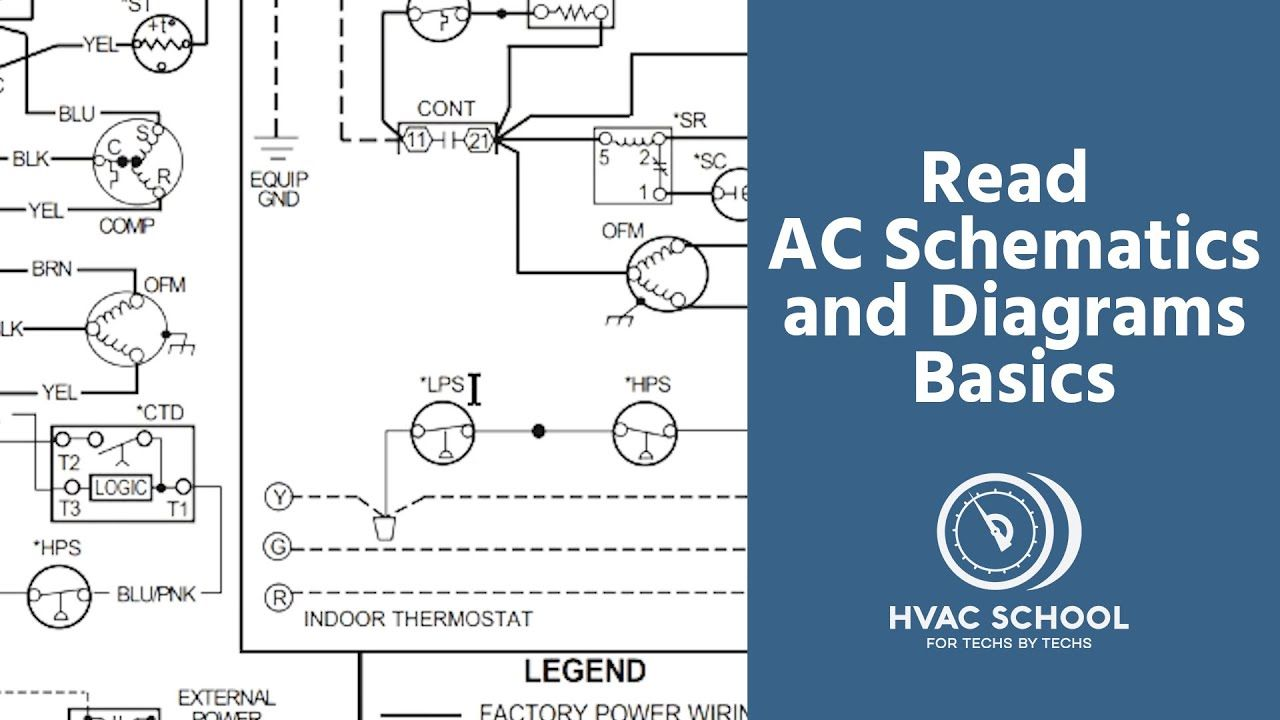 How To Read Ac Schematics And Diagrams Basics Youtube In 2020 Hvac School Diagram Reading