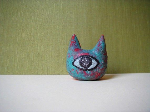 Cyclops Kitty - on etsy https://www.etsy.com/listing/72522518/two-faced-cyclops-cat-head?ref=v1_other_1