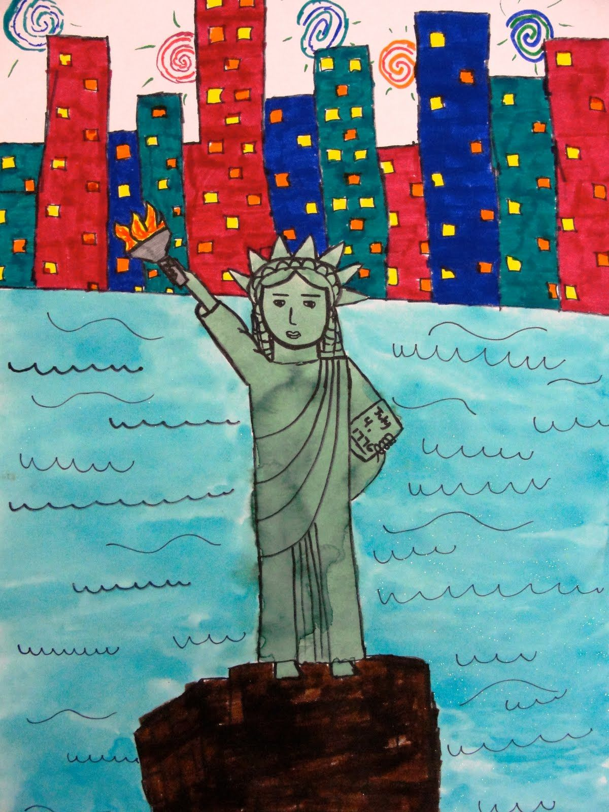 Photo of Lady Liberty with Watercolor or Newspaper | Deep Space Sparkle