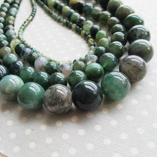 Bulk Moss Agate Beads 12mm 10mm 8mm 4mm 4 Strand 64 By Farragem Agate Beads Mixed Beads Beaded Necklace