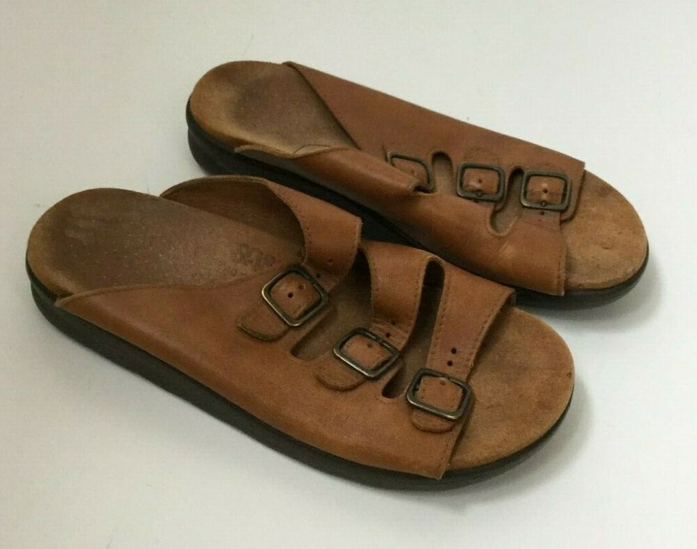 2ba15c433ac5 SAS Tripad Comfort Sandals Brown Leather Size 8 Womens 3 Strap Buckle  Slip-on  SAS  Comfort