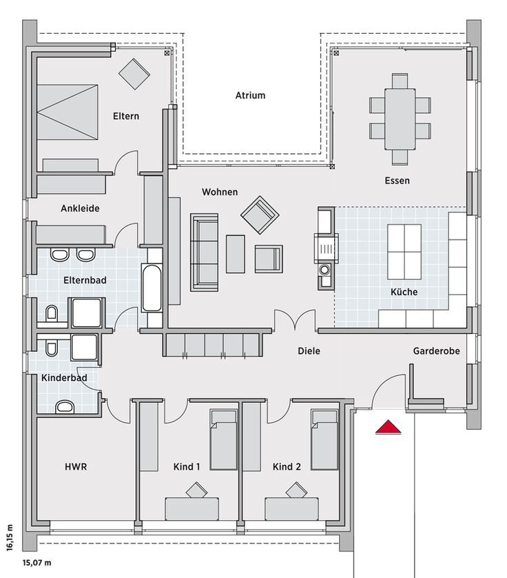 Breyer & Seckbau Plan maison 90m2, Plan maison en u