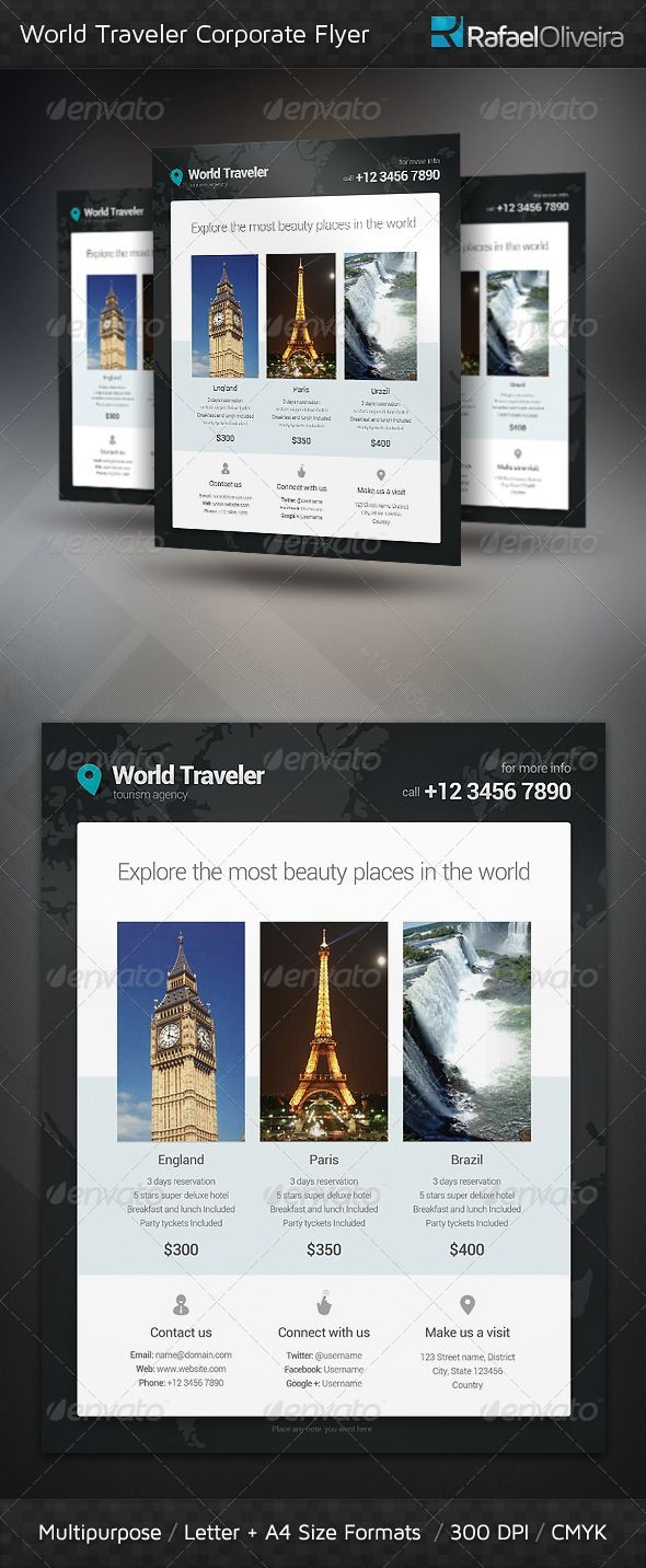 World Traveler Corporate Flyer — Photoshop PSD #photo #ad • Available here → https://graphicriver.net/item/world-traveler-corporate-flyer/3709668?ref=pxcr