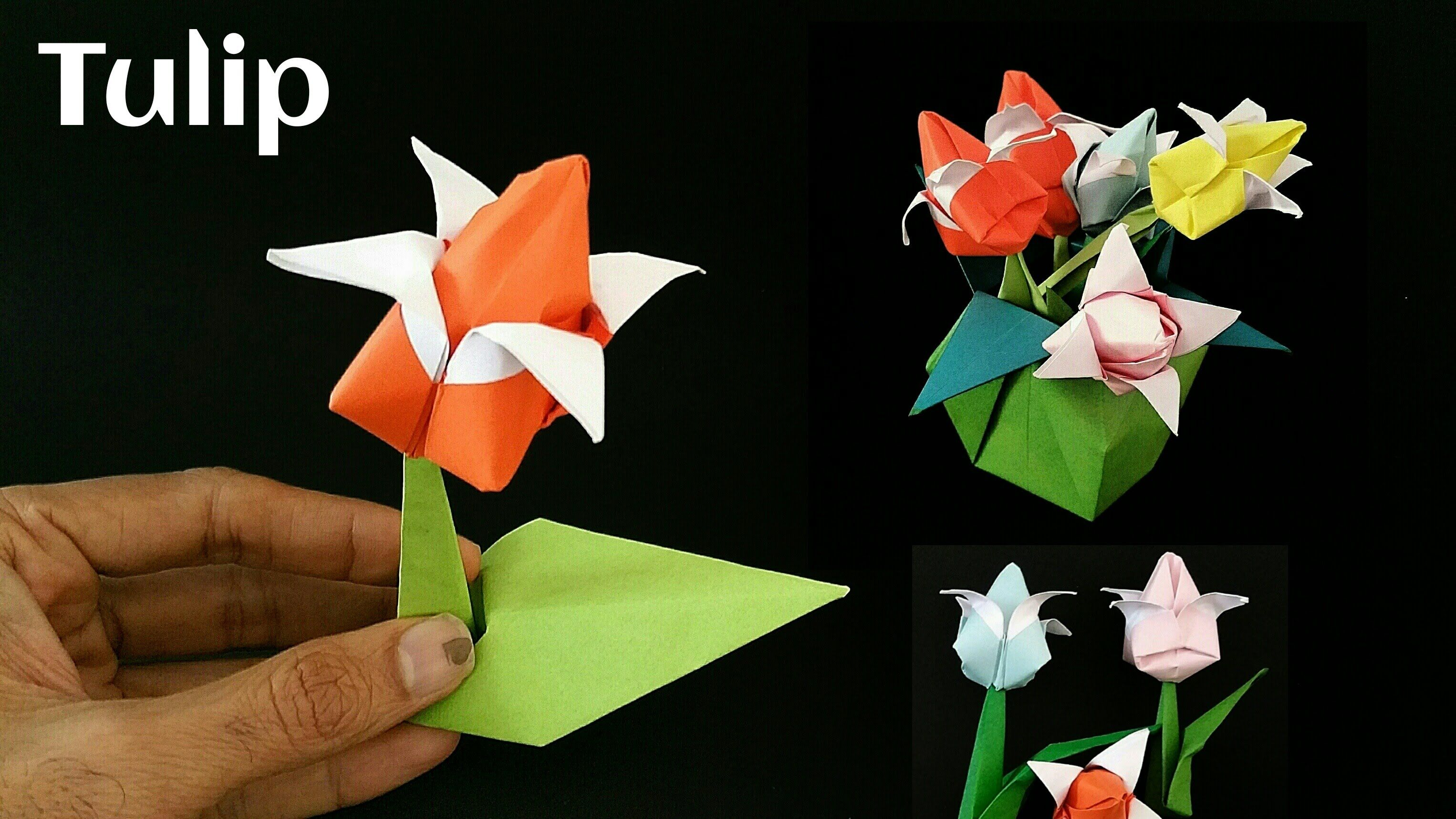 Flower origami paper double colored tulip with stem and leaf flower origami paper double colored tulip with stem and jeuxipadfo Image collections