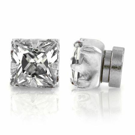 Jamal's Square Cut CZ Non Pierced Magnetic Earrings - 5mm