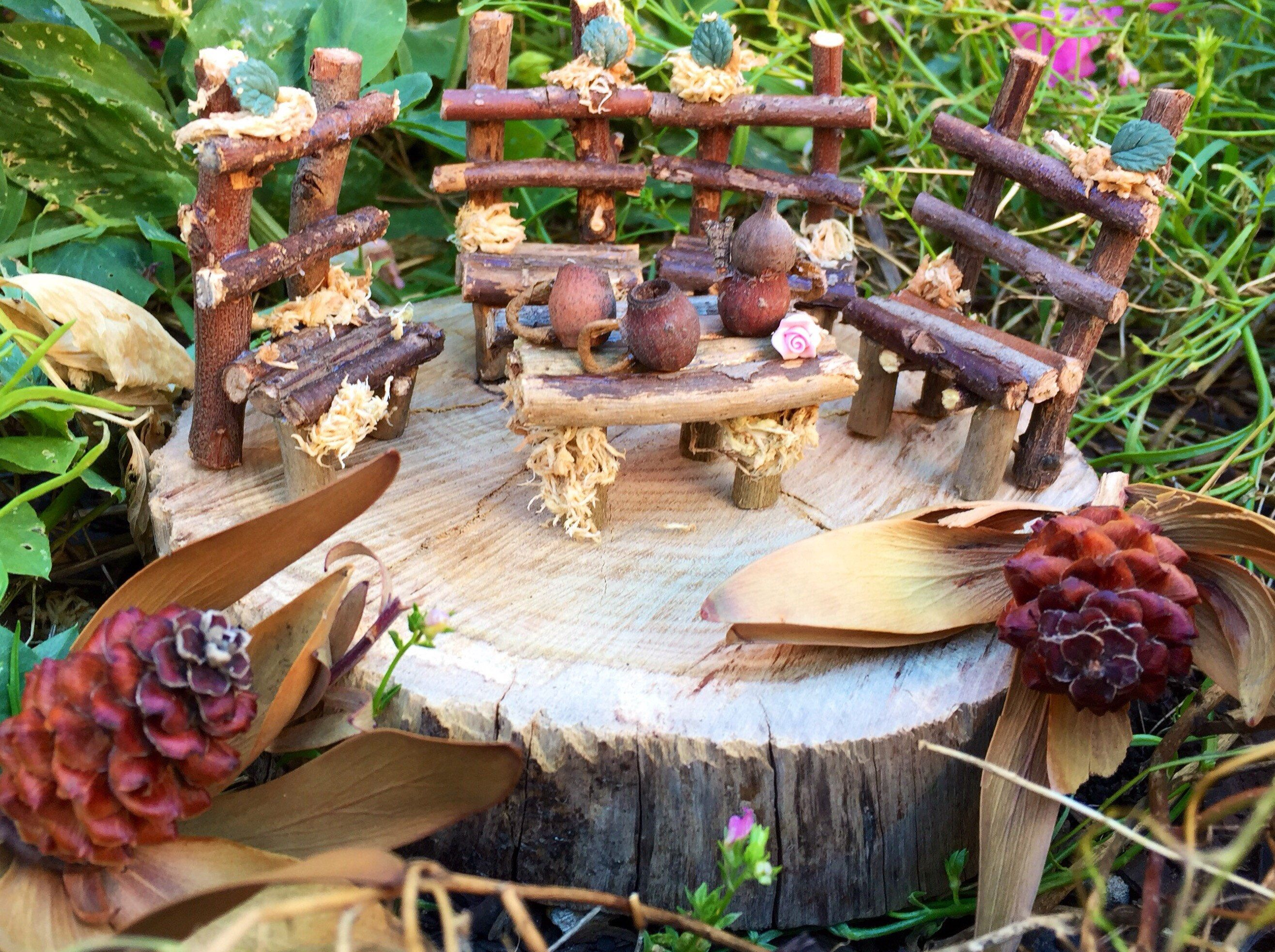 Handmade Wooden Fairy Furniture Fairy Garden Accessories Wooden Miniature Furniture Dolls House Furniture Wooden Fairy Table And Chairs Fairy Garden Accessories Fairy Garden Furniture Fairy Garden