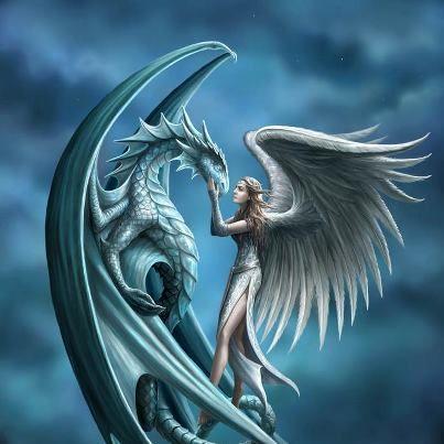 Anjo e dragão, de A. Stokes.