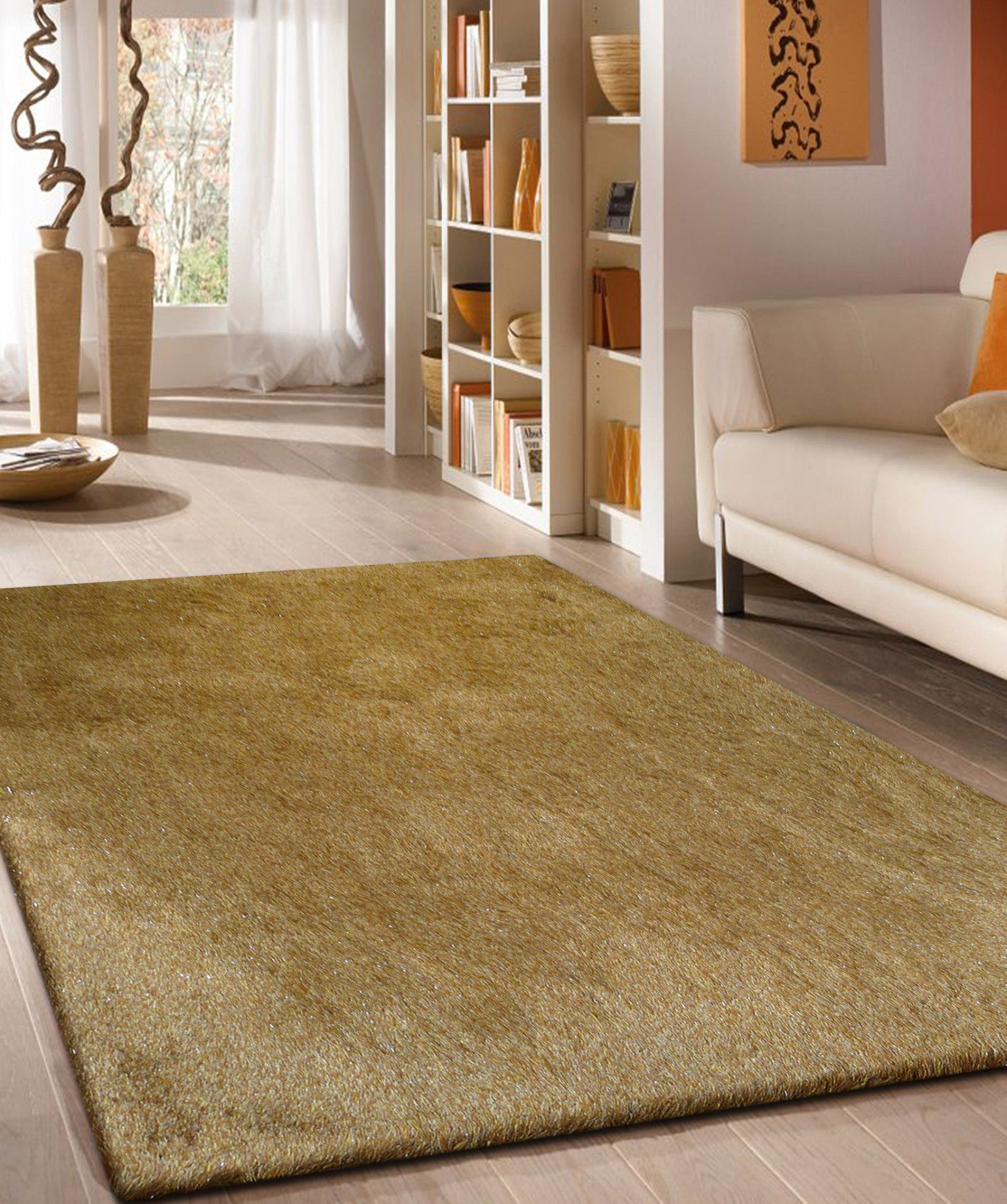 2-Tone Gold Long Soft Durable Shag Area Rug In 2019