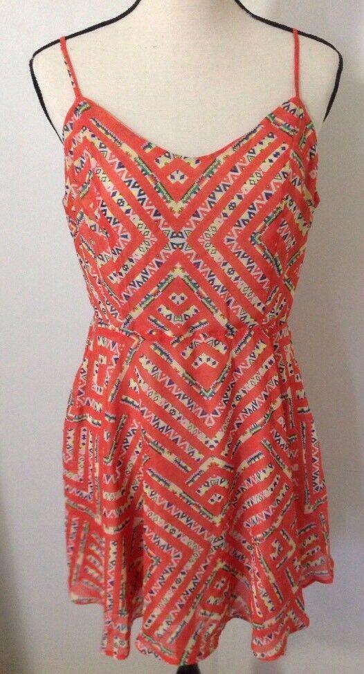 Fire Los Angeles Dress Sz L Open Back Mini Tribal Boho Southwestern Full Skirt
