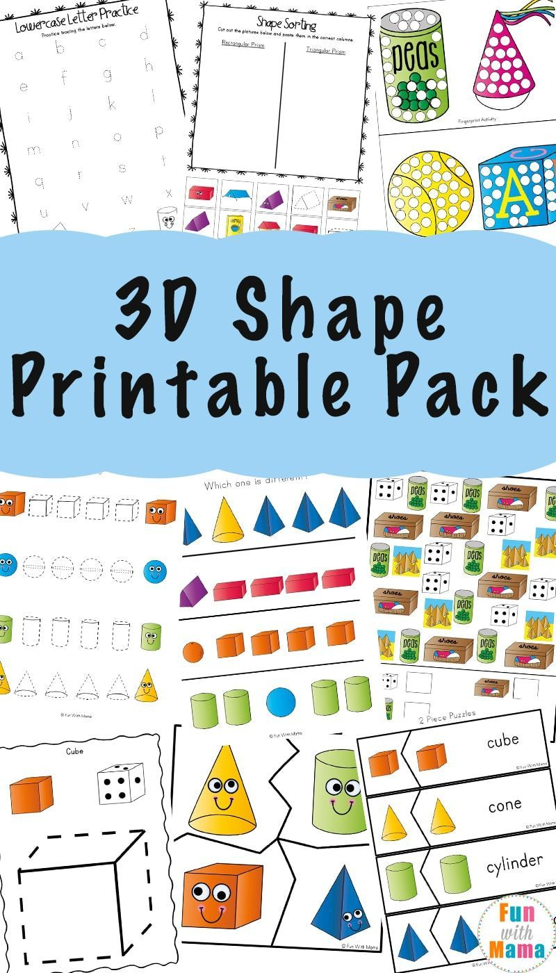 3d shape worksheets and 3d shape for kids activities