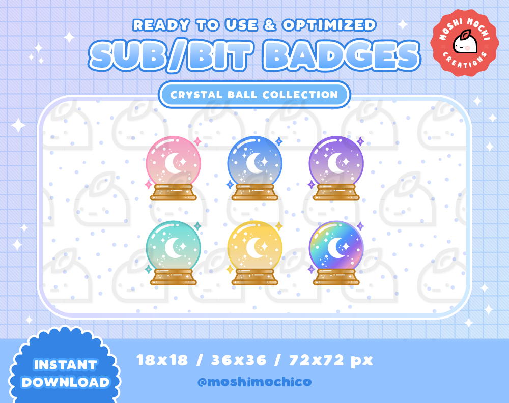 Twitch Sub Badges Bit Badges Emote Magical Cute Glossy Pastel Crystal Ball Collection Kawaii Streamer Halloween Spooky Magic Twitch Crystal Ball Twitch Streaming Setup