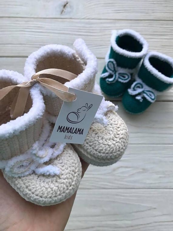 Cream Crochet baby boots Baby handmade shoes Soft sole baby