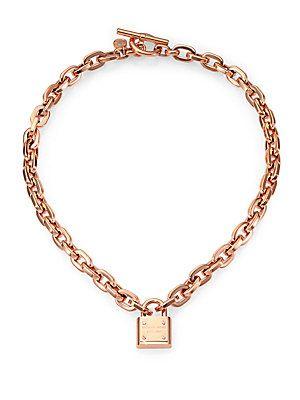 2424fa0331ddb Michael+Kors Padlock+Charm+Necklace Rose+Goldtone
