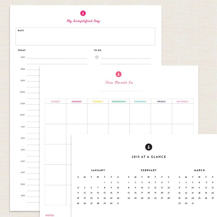 Undated planner printables from Emily Ley