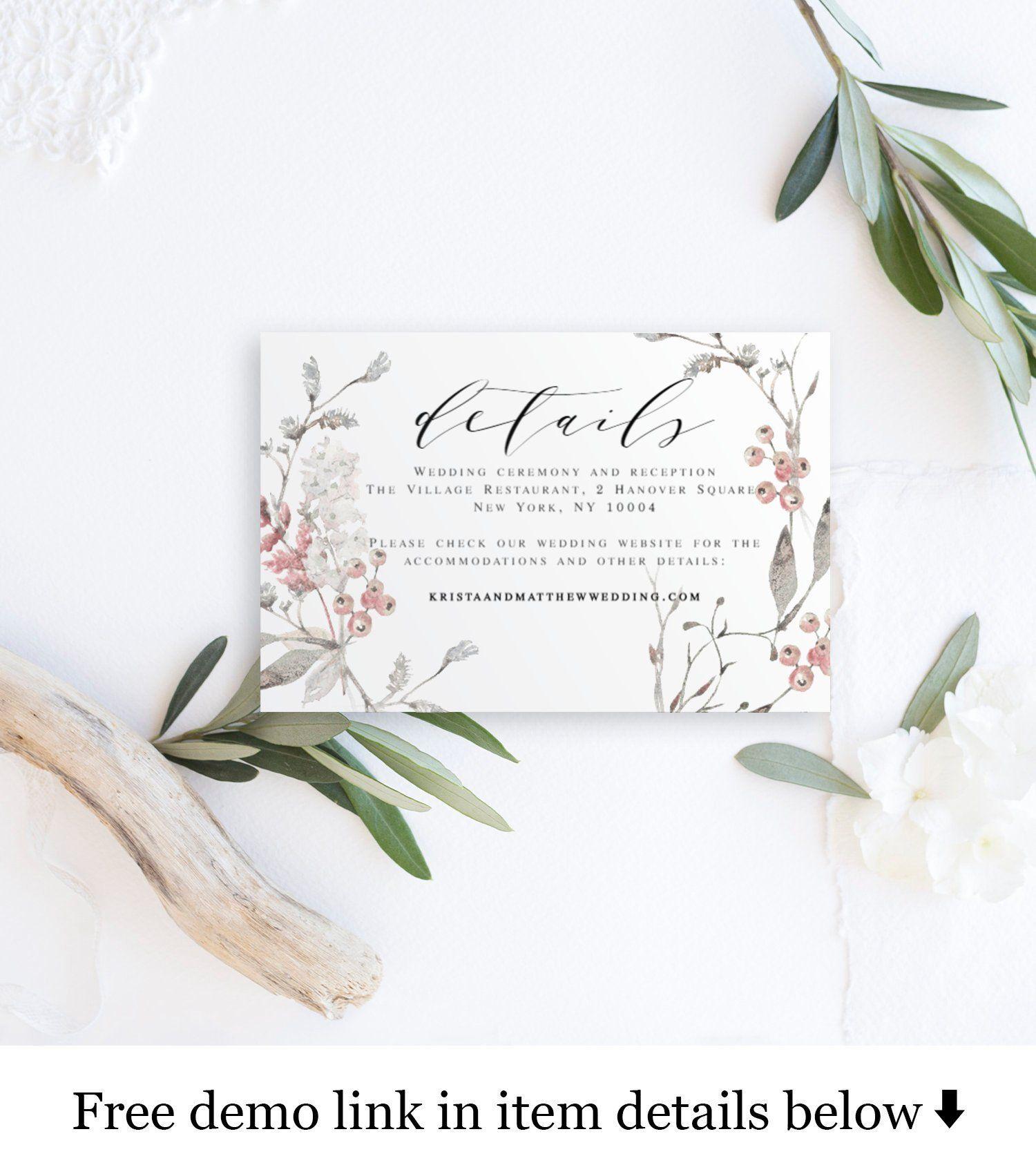 Wedding rsvp card Wedding rsvp printable template Enclosure card For Acceptance Card Template