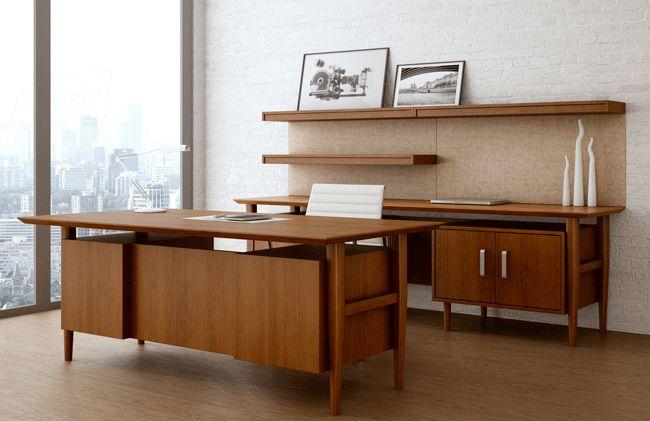 Retro Modern Contemporary Wood Desk Buro Arbeitsplatz Design